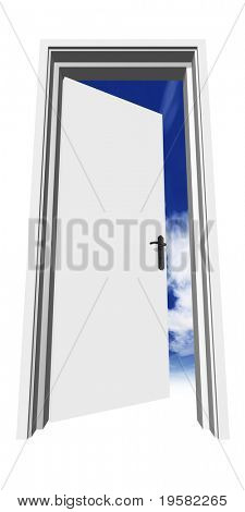 high resolution 3D opened door, isolated on white, over a natural sky, ideal for business, conceptual, constructions or real estate designs