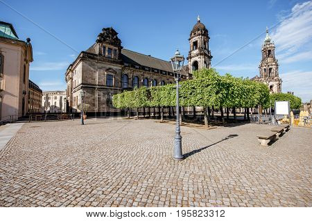 Morning view on the Bruhl terrace with Court of Appeal building in Dresden city, Germany