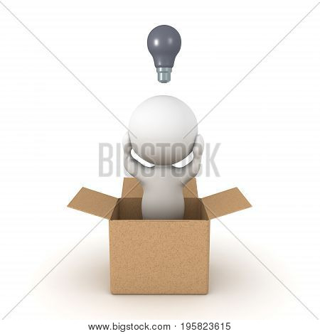 3D Character can't come up with new ideas since he's thinking inside the box. Isolated on white.