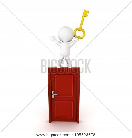 3D Character standing on top of a door with his arms raised and holding a golden key. Isolated on white.