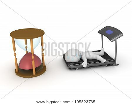 3D Character exhausted after cardio workout. Isolated on white.