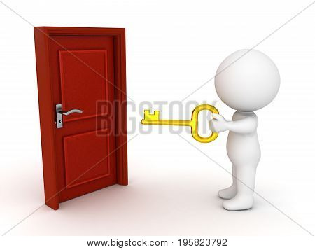 3D Character holding a golden key in front of a closed door. Isolated on white.