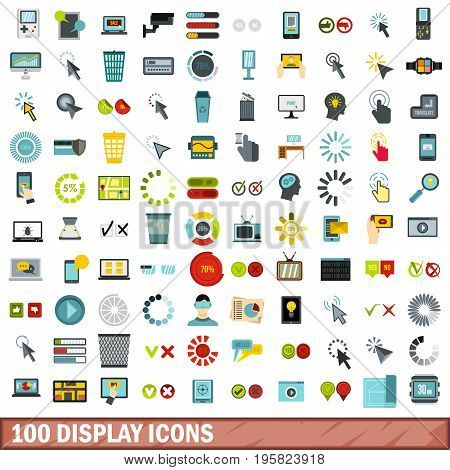 100 display icons set in flat style for any design vector illustration