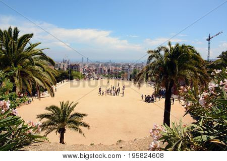 Observation deck in famous Park Guell, Barcelona, Spain