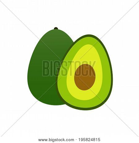 Fruit avocado icon. Green fruit. Vector stock.