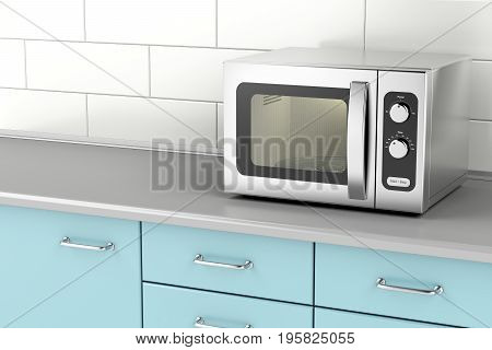 Silver microwave oven in the kitchen, 3D illustration