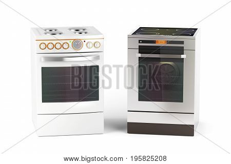 Electric cookers on white background, 3D illustration
