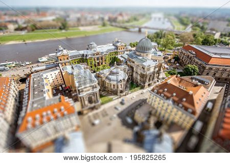 Aerial cityscape view on the old town with university building in Dresden city, Germany. Tilt-shift image technic