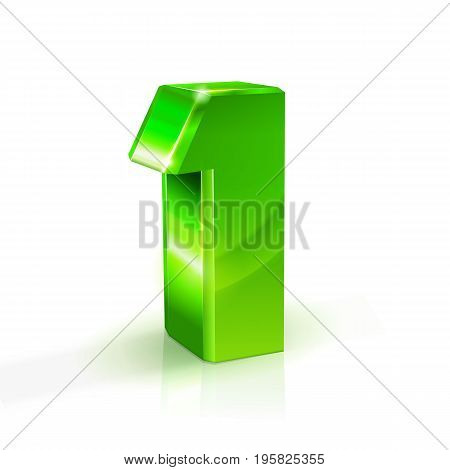 Glossy green One 1 number. 3d Illustration on white background. Vector