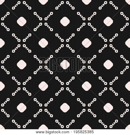 Vector seamless pattern. Subtle monochrome texture with simple geometric figures, circles, chains, diagonal lattice, square grid. Dark abstract background, repeat tiles. Design for prints, fabric, web. Abstract seamless pattern.