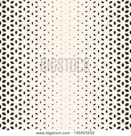 Halftone pattern. Vector halftone texture, monochrome seamless pattern, gradient transition effect. Geometric background with rounded shapes, floral figures, petals. Modern abstract design for covers, decor. Halftone background. Floral pattern.
