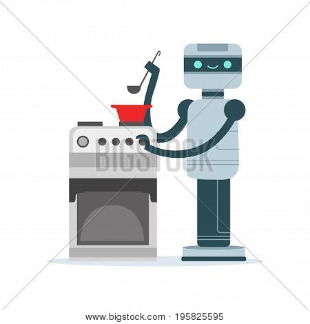 Housemaid android character cooking food vector Illustration isolated on a white background