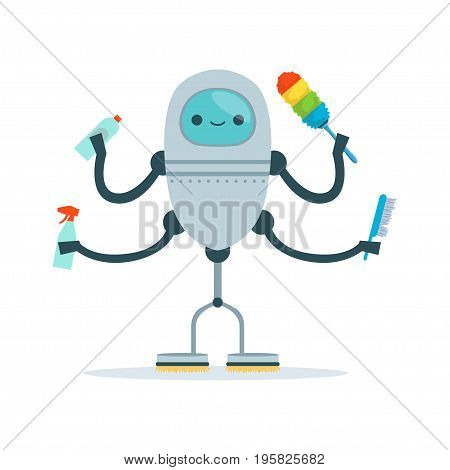 Multi armed housemaid android character cleaner vector Illustration isolated on a white background