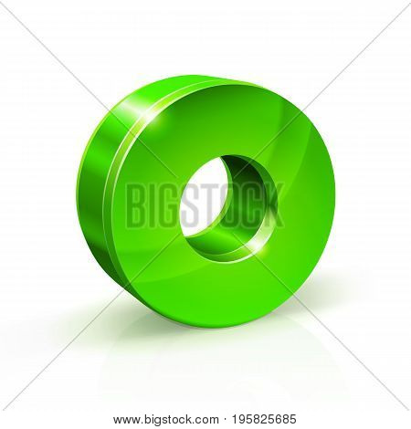 Glossy green Zero 0 number. 3d Illustration on white background. Vector