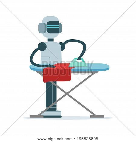 Housemaid android character ironing clothes vector Illustration isolated on a white background