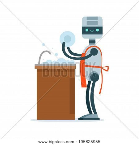 Housemaid android character washing dishes vector Illustration isolated on a white background