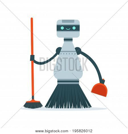 Housemaid cleaning robot character vector Illustration isolated on a white background