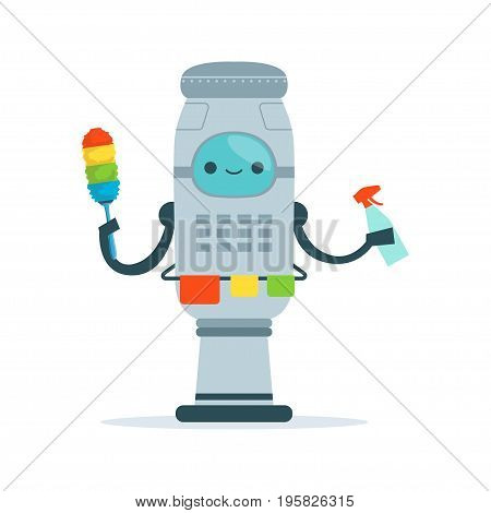 Housemaid android character cleaning home vector Illustration isolated on a white background