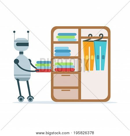 Housemaid android character putting clothes in a wardrobe vector Illustration isolated on a white background