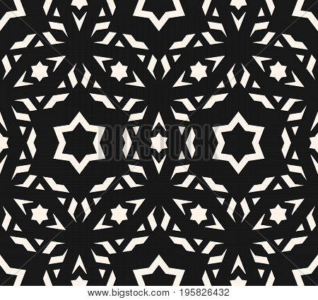 Ornamental pattern. Delicate vector seamless pattern. Elegant ornament texture with linear geometric shapes stars. Abstract monochrome ornamental background, repeat tiles. Ornamental design. Asian style design for decor, fabric, textile. Traditional geome