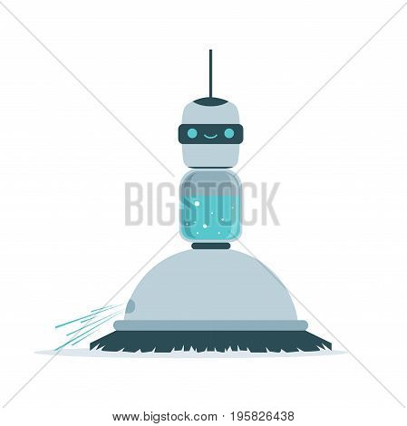 Robot sweeping a floor vector Illustration isolated on a white background