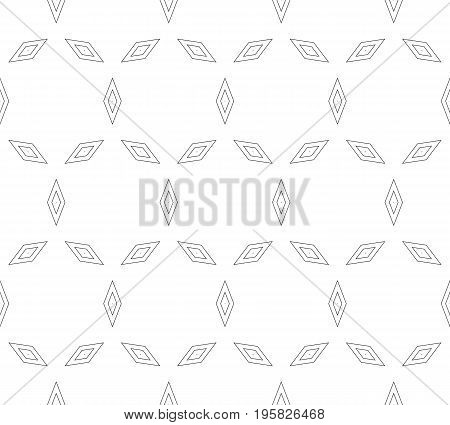 Geometric pattern. Vector minimalist seamless pattern with thin outline rhombuses, simple monochrome geometric texture. Geometric shapes.  Abstract minimalistic background, repeat tiles. Stylish design element for decor, textile, prints. Geometric seamles
