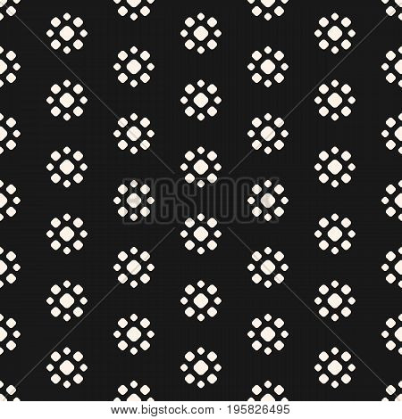 Floral pattern. Abstract dotted seamless pattern. Simple floral geometric shapes. Vector monochrome circles texture. Floral design. Stippling background. Repeat tiles. Dark design for prints, decor, fabric, covers, digital, web.