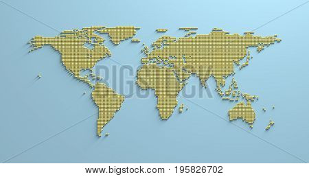 World Map 3D America Africa Asia Europe Oceania