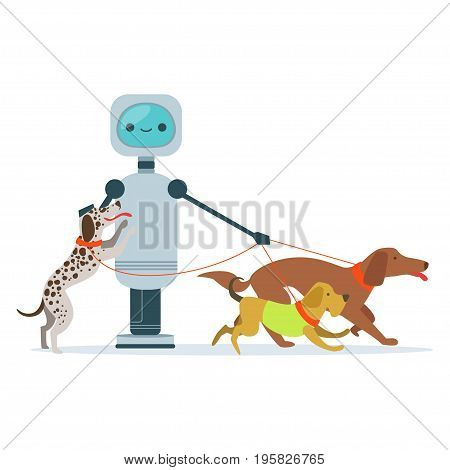 Housemaid android character walking dogs vector Illustration isolated on a white background