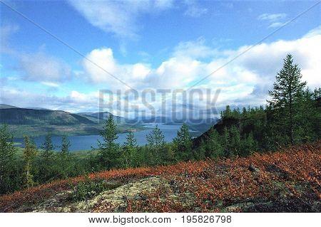 Taimyr. Putorana Plateau. View of the lake Glubokoe from a bird's eye view.