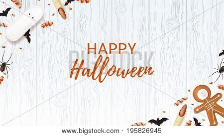 Halloween web banner with sweets. Top view on spiders, paper bats and confetti on wooden texture. Vector illustration with cookies in form of skeleton gingerbread man. Cream cake in form of mummy.