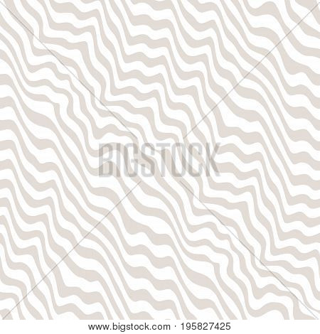 3d seamless pattern. Vector monochrome texture, seamless pattern with abstract curved lines beige and white colors. Visual effect of 3D surface, illusion of movement.  Geometric pattern. Dynamic diagonal waves. Repeat design, pop art style.