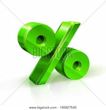 Glossy green persent sign. 3d Illustration on white background. Vector