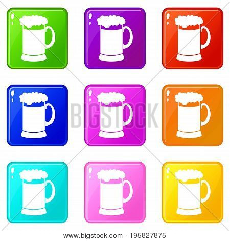 Mug of dark beer icons of 9 color set isolated vector illustration