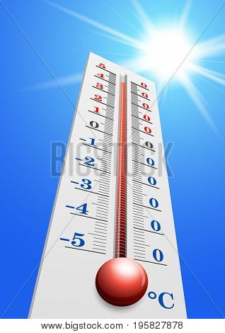 Thermometer - Air temperature measuring device in vector. Heat weather. On the thermometer +40 degrees