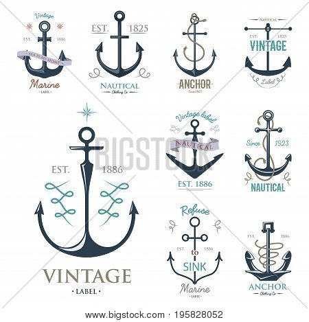 Vintage retro anchor badge and label. Vector sign sea ocean graphic element nautical symbol. Marine emblem traditional anchorage design illustration.