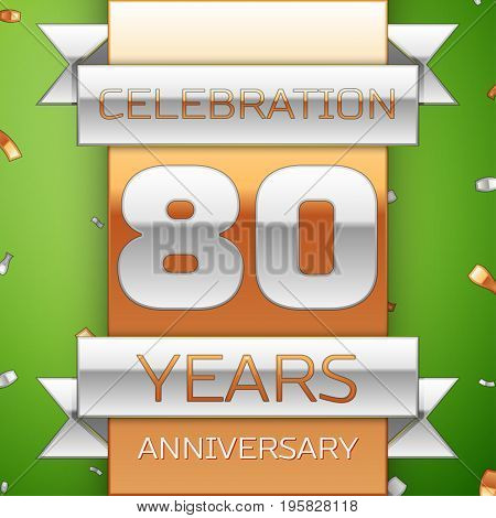 Realistic Eighty Years Anniversary Celebration Design. Silver and golden ribbon, confetti on green background. Colorful Vector template elements for your birthday party. Anniversary ribbon