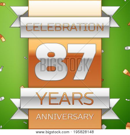 Realistic Eighty seven Years Anniversary Celebration Design. Silver and golden ribbon, confetti on green background. Colorful Vector template elements for your birthday party. Anniversary ribbon