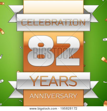 Realistic Eighty two Years Anniversary Celebration Design. Silver and golden ribbon, confetti on green background. Colorful Vector template elements for your birthday party. Anniversary ribbon