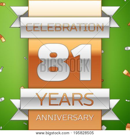 Realistic Eighty one Years Anniversary Celebration Design. Silver and golden ribbon, confetti on green background. Colorful Vector template elements for your birthday party. Anniversary ribbon