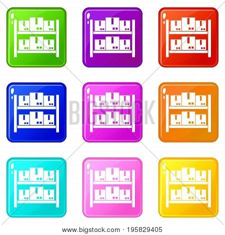 Storage of goods in warehouse icons of 9 color set isolated vector illustration