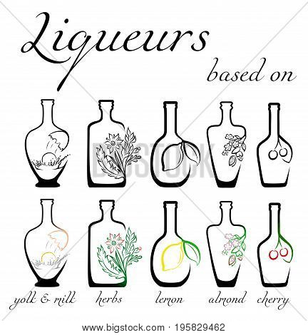 A set of conceptual icons of liqueurs with the ingredients on which they are based