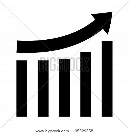 Growing Graph Black Color Icon .
