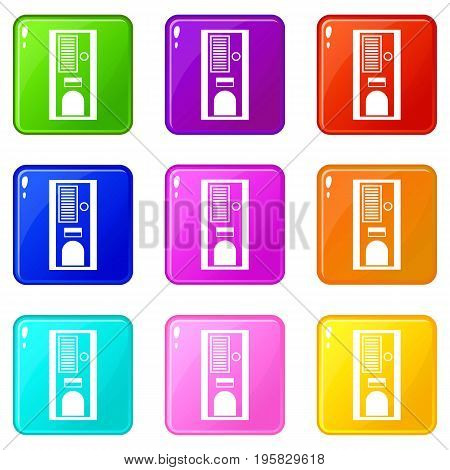 Coffee vending machine icons of 9 color set isolated vector illustration