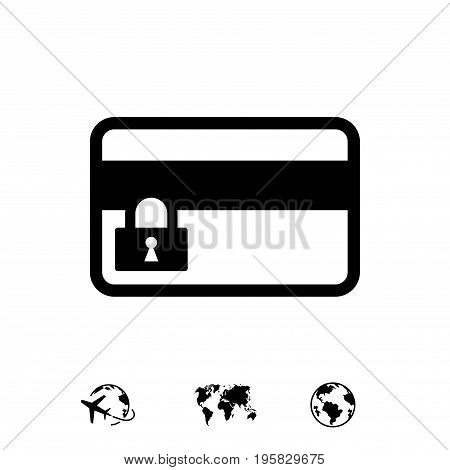 card credit lock icon stock vector illustration flat design