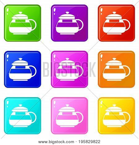 Glass teapot icons of 9 color set isolated vector illustration