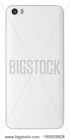 Back view of modern white smartphone with camera and flash isolated on white background. Smart phone with clipping path