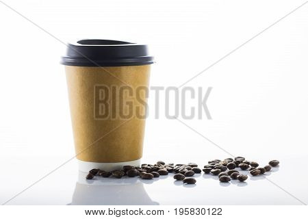 Paper cup coffee to go and coffee bean white background