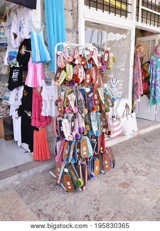 HYDRA ISLAND GREECE, MAY 27 2016: traditional souvenir shops at Hydra island Saronic Gulf Greece. Editorial use.