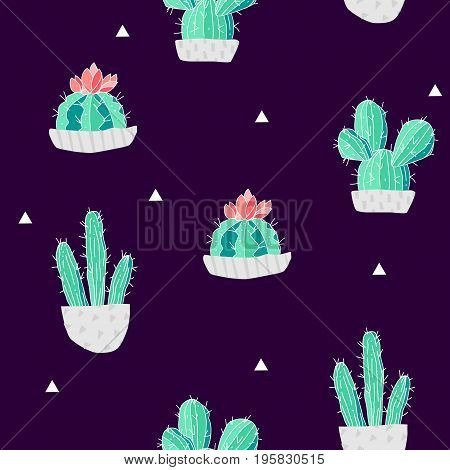Summer pattern with cacti in a flowerpots and triangles on black background. Vector.